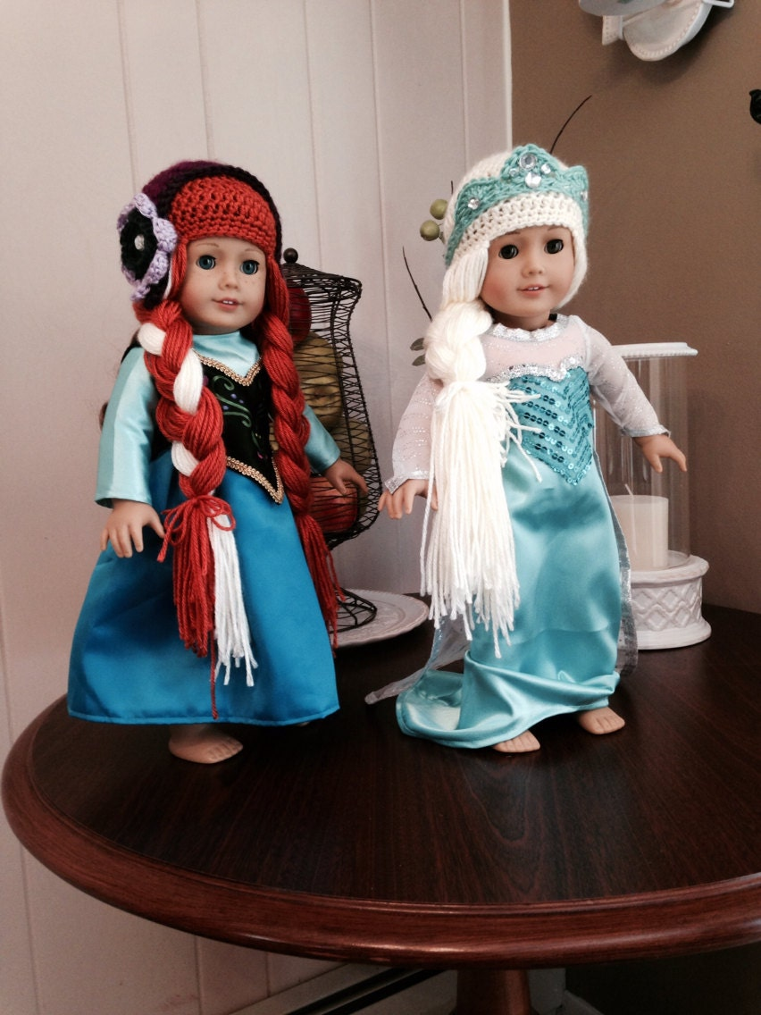 Crochet Elsa And Anna Dolls : Crochet Anna and Elsa doll hat sets