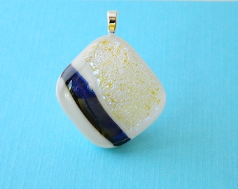 Blue and White Dichroic Fused Glass Pendant