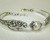 Silver Spoon Bracelet, Evening Star 1950 with White Crystal Pearls, Silverware Jewelry