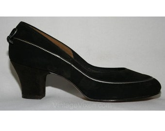 Size 7 40s Shoes - 1940s 1950s Black Suede Pumps with Bow Accent Heels - 7M - Rounded Toe Pumps - Silver Sawtooth Trim - Deadstock - 28444-1
