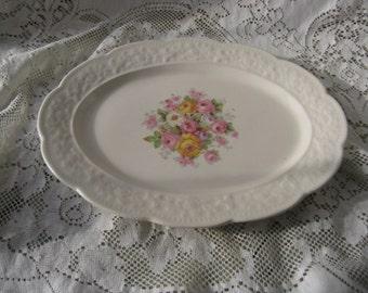 rose platter shabby rose platter pink and yellow roses cream platter cottage shabby