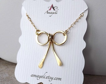 Bow necklace, bow pendant, gold bow necklace, jewelry, gold necklace, womens necklace