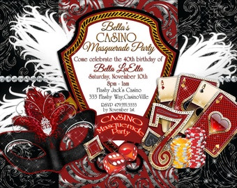 casino invitation | etsy, Party invitations