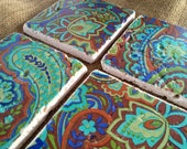 Cool Paisley - Natural Stone Tile Drink Coasters - Set of 4