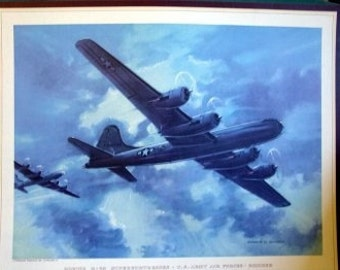 WWII US Fighter Bomber Planes B29 Superfortress B24 Liberator Douglas Torpedo Print Lot