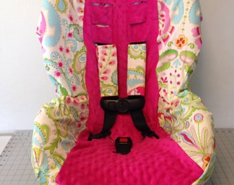 kumari Gardens & hot pink minky toddler  Convertible car Seat Cover fits Cosco Scenera  with Strap covers