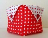 Red cotton storage basket, bathroom storage container, household storage