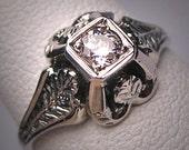 Antique Diamond Wedding Ring 18K Art Deco Vintage White Gold Belais Engagement