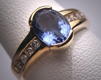 Vintage Tanzanite Diamond Wedding Ring 14K Retro Art Deco Engagement