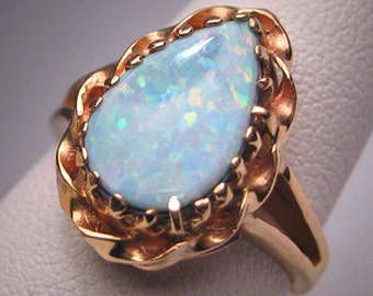 Antique Vintage Australian Opal Ring 14K Gold Wedding Victorian Style