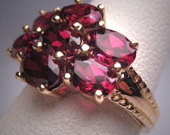 Vintage Rhodolite Garnet Ring Retro Art Deco Wedding YG