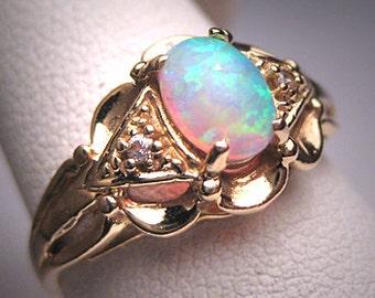 Antique Vintage Australian Opal Ring Wedding Diamond Victorian Art Deco