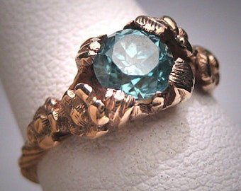Antique Blue Zircon Wedding Ring Vintage Art Deco Gold c.1930