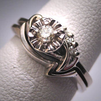 Antique Diamond Wedding Ring Set Vintage Art Deco 2Pc