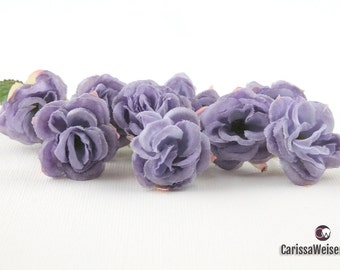Artificial Flowers - Nine or 18 LAVENDER Mini Roses - Small Flowers, Miniature Roses on Short Stems