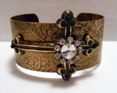 CHECK AVAILABILITY FIRST Cuff w/ Gold Cross w/ Rhinestones-Country Western Girl, Redneck Girl, Rustic, Country, Rockabilly, Cuff Bracelet