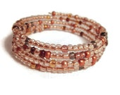 Glowing Browns and Wheat Hand Beaded Glass Seed Bead Bracelet, Adjustable