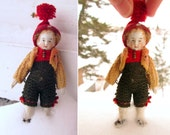 Christmas Antique All Bisque Boy Doll Miniature Dollhouse Doll Original Knit Winter Clothing Tiny Rare German French Doll House Doll