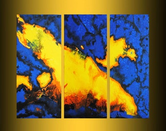 christmas sale original painting acrylic triptych fire painting ready to hang free shipping gallery x-large painting