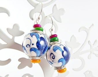 Gypsy Bohemian Colorful Ceramic Bead Earrings - Sterling Silver Earwire