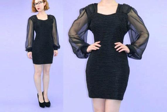 SALE Black Mini Dress 1990s Body Con Sheer Sleeves Medium