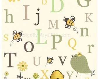 Nursery Wall Art Decor For Kids Room Bee Baby Sage