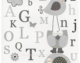 Nursery wall art, Baby room, Children Art, abc, nursery alphabet, gray, baby blue and white, light blue and gray, Taylor, Branson Elephant