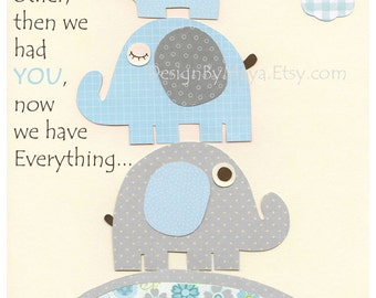 Baby Room Decor, Nursery Art, owl nursery, baby print, gray and aqua, nursery wall art,baby boy rrom decor, first we had, gray, light blue