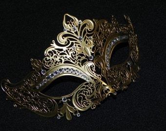 Rhinestone Metallic Masquerade Mask - Gold Metal Mask
