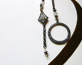 Black to White Ceiling Fan/ Light Pull Chain, handmade by gviolet, The Rock N Roll Collection