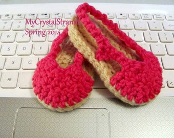 NEW - Crochet Slingback Baby Espadrille Sandals in Bright Fushia Cotton