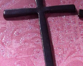 Vintage Style Dark brown rustic aged patina  crosses 2 pcs.  61mm x 36mm
