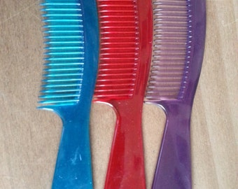 Vintage Hair Comb 1980s Never Used Purple or Red