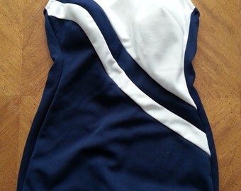 Vintage Never Worn Robby Len Suit Swim Suit Blue and White Built in Bra Size 12 Ladies Pin Up 1960s