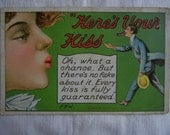 """Vintage F. Bluh Postcard, """"Here's Your Kiss"""", Romantic Comic Card, Greeting, Woman Blowing Kiss, Man Catching"""