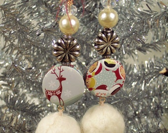 Snowball earrings - pearl, crystal, wool pompoms - Snowball Fight by PyxeeStyx - Traveling SideShow