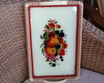 Vintage vinyl and glass floral tray retro farm kitchen serving tray