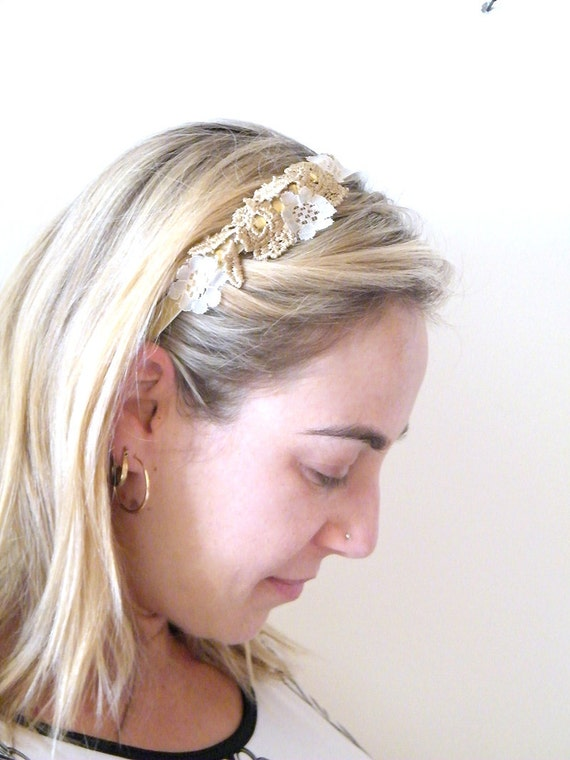 Bridal headband, Bridal Lace Headband, Vintage floral Headband, Shabby Chic headpiece, Wedding hairpiece, Wedding hair Accessory,