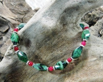 """Red ruby green zoisite bracelet 6.5"""" long twisted rectangles rubies July birth stone gemstone jewelry packaged in a colorful gift bag 552"""