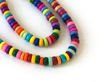 Rainbow Wood Beads, 8mm x 4mm Rondelle, Colorful Mix, eco-friendly wooden beads (833R)