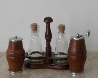 Vintage Cruet Set with Wooden Salt and Pepper Dispenser For the Home