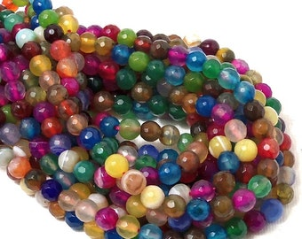 Rainbow Fired Agate, 6mm, Round, Faceted, Multi Colored, Gemstone Beads, Small, Full Strand, 60-62pcs - ID 1902