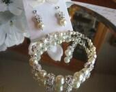 Swarovski Rhinestone and Pearl Bracelet and Earring Set - Brides or Bridesmaid Jewelry Set/Pearl Wedding Jewelry/Bridal Bracelet