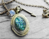 Get 12% OFF - Green Opal Oval Glass Cabochon Antique Bronze Oval Photo Locket Necklace - Halloween SALE 2015