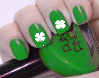 Nail decal etsy set of 52 shamrock 4 leaf clover st patricks day vinyl nail decal stickers prinsesfo Gallery