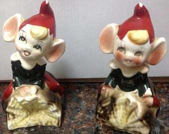 Vintage Pixie Christmas Elf Salt and Pepper Shakers Figurines.