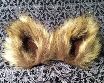 Golden Brown and Tan Wolf Fox Fuzzy Cat Ear Clips with Tail or without Tail