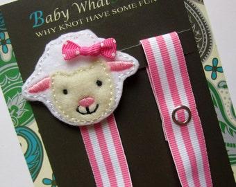 Girl Sheep Pacifier Clip, Sheep Pacifier Clip, Farm Animal Pacifier Clip, pcsheep01
