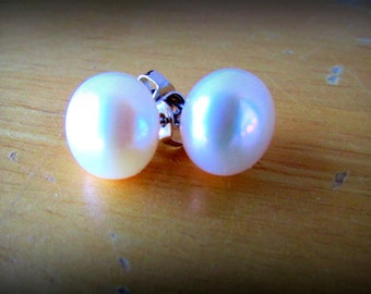 10mm 925 Stud White Pearl Earrings,Stud Earrings,Pearl Earrings,Gift,Bridal Gift,Wedding Gift
