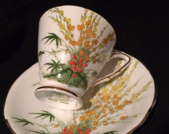 Royal Stafford Cup and Saucer - Demitasse - Yellow Broom Flower Pattern